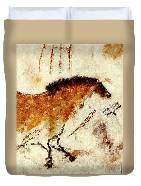 Lascaux Prehistoric Horse Detail Duvet Cover