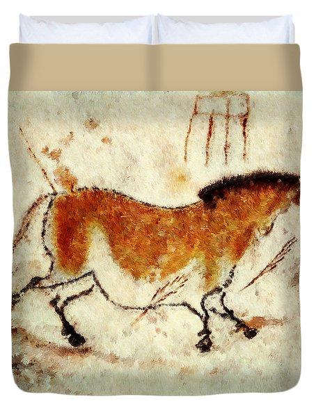 Lascaux Prehistoric Horse Duvet Cover
