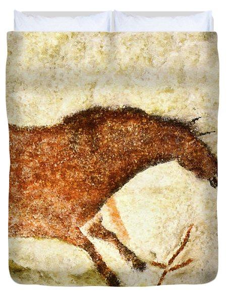 Lascaux Red Horse Duvet Cover