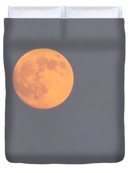 Last #evening's Almost #orange #moon Duvet Cover