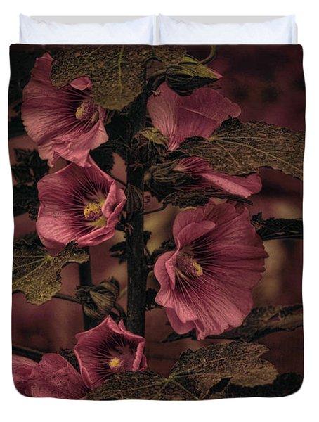 Last Hollyhock Blooms Duvet Cover