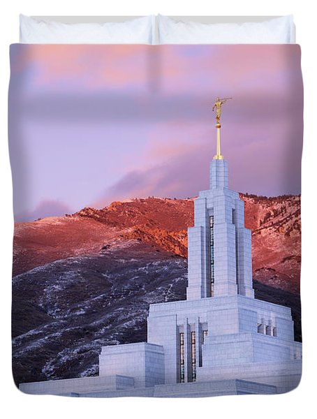 Last Light At Draper Temple Duvet Cover