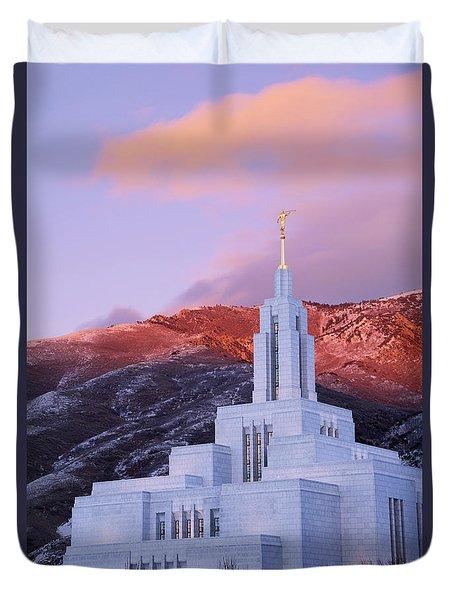 Last Light At Draper Temple Duvet Cover by Chad Dutson