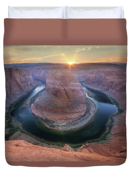 Duvet Cover featuring the photograph Last Light At Horseshoe Bend by Lori Deiter