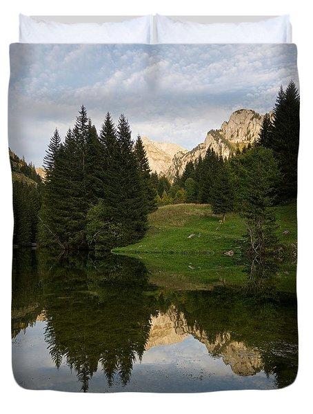 Last Light At Lac De Fontaine Duvet Cover