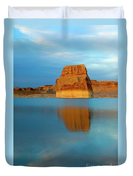 Duvet Cover featuring the photograph Last Light At Lone Rock by Mike Dawson