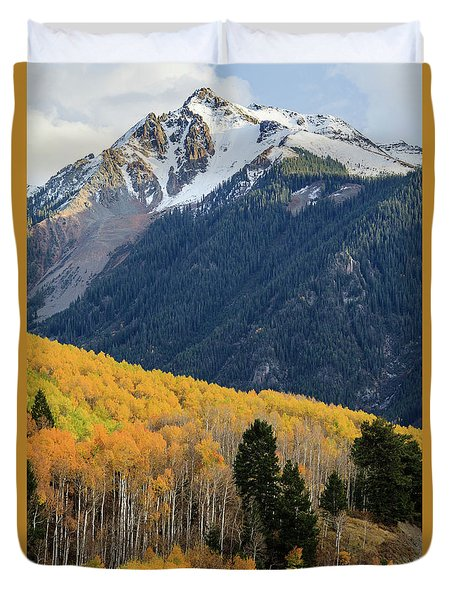 Duvet Cover featuring the photograph Last Light Of Autumn Vertical by David Chandler