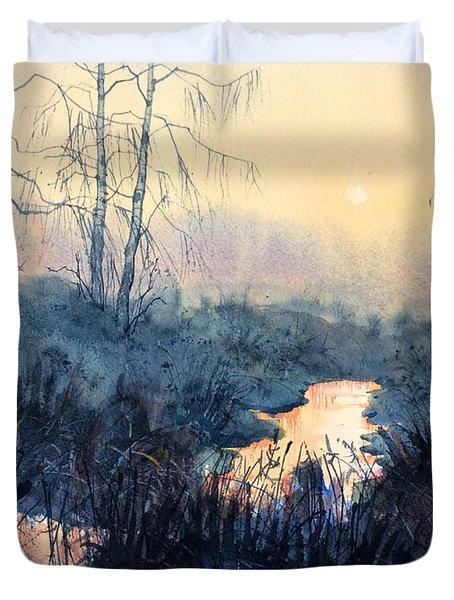 Last Light On Skipwith Marshes Duvet Cover