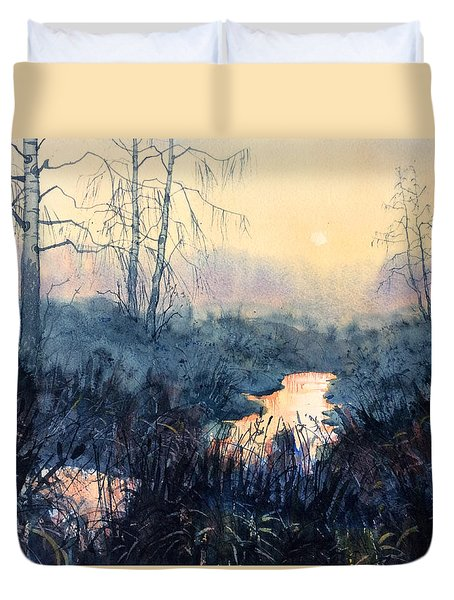 Last Light On Skipwith Marshes Duvet Cover
