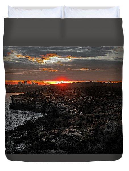 Duvet Cover featuring the photograph Last Light Over North Head Sydney by Miroslava Jurcik