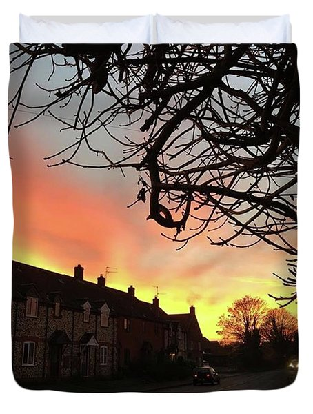 Last Night's Sunset From Our Cottage Duvet Cover by John Edwards