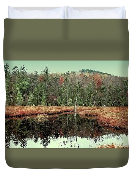 Duvet Cover featuring the photograph Last Of Autumn On Fly Pond by David Patterson