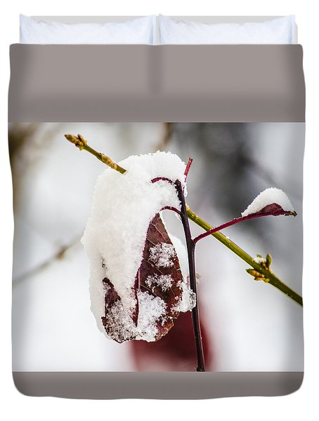 Duvet Cover featuring the photograph Last Of The Autumn Red by Deborah Smolinske