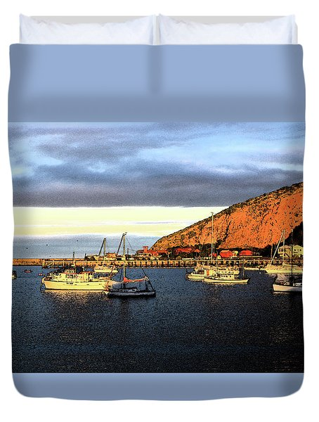 Duvet Cover featuring the photograph Last Rays At The Bay by Nareeta Martin