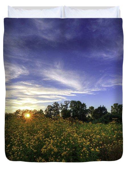 Last Rays Over The Flowers Duvet Cover