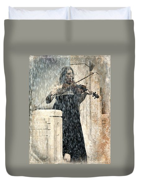 Last Song Girl With Violin Duvet Cover by Pamela Patch