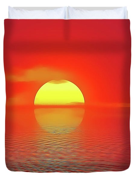 Duvet Cover featuring the painting Last Sunset by Harry Warrick