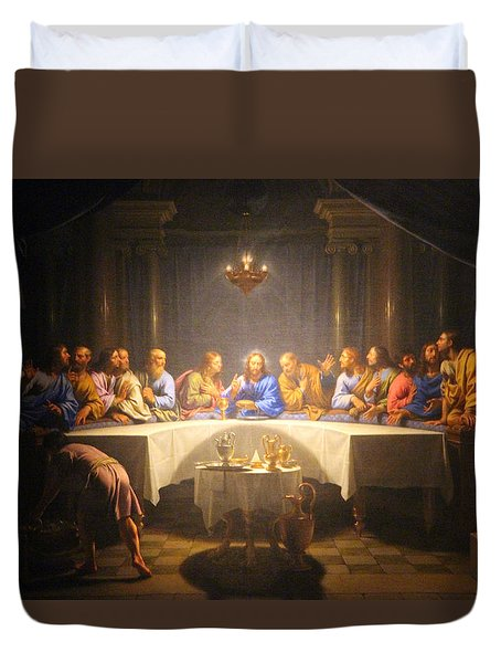 Last Supper Meeting Duvet Cover by Munir Alawi