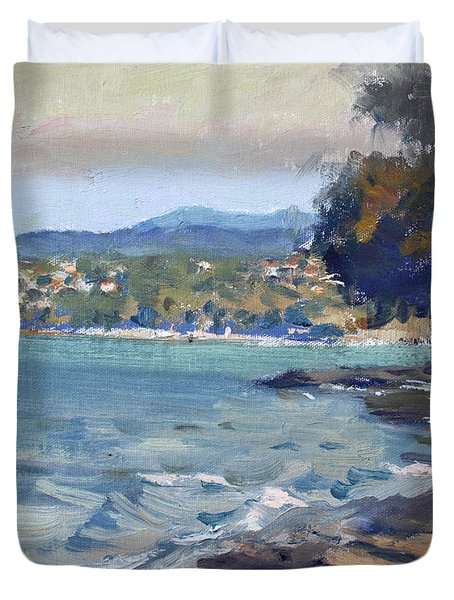 Late Afternoon At Dilesi Beach Athens Duvet Cover