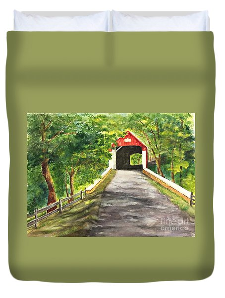 Duvet Cover featuring the painting Late Afternoon At Knechts Covered Bridge   by Lucia Grilletto