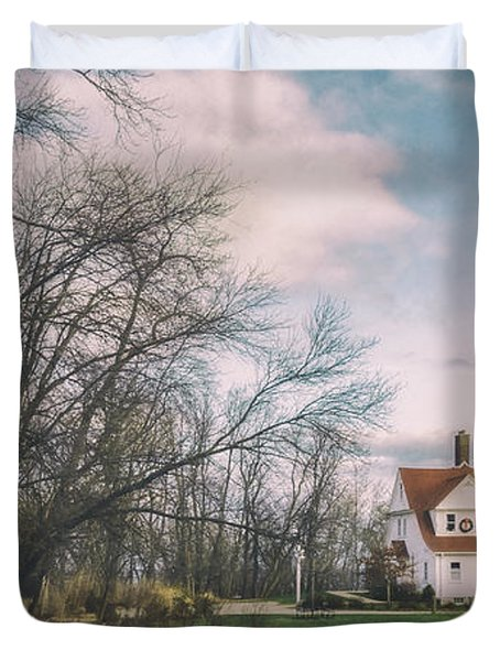 Late Afternoon At The Lighthouse Duvet Cover
