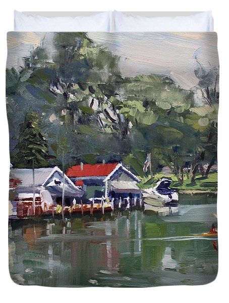 Late Afternoon By The Canal Duvet Cover