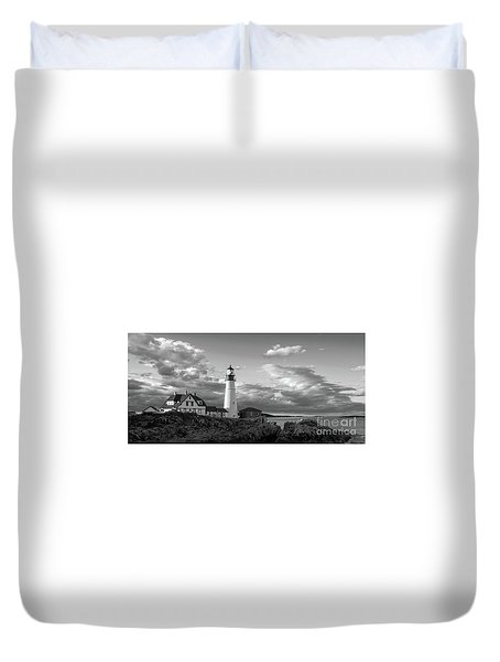 Duvet Cover featuring the photograph Late Afternoon Clouds, Portland Head Light  -98461 by John Bald