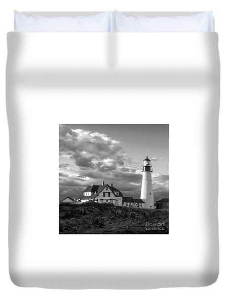 Late Afternoon Clouds, Portland Head Light  -98461-sq Duvet Cover