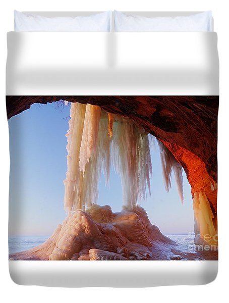 Duvet Cover featuring the photograph Late Afternoon In An Ice Cave by Larry Ricker