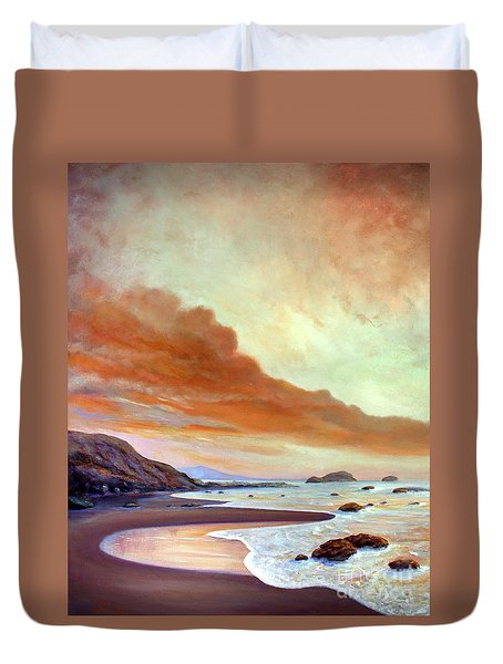Late Afternoon On San Simeon Beach Duvet Cover