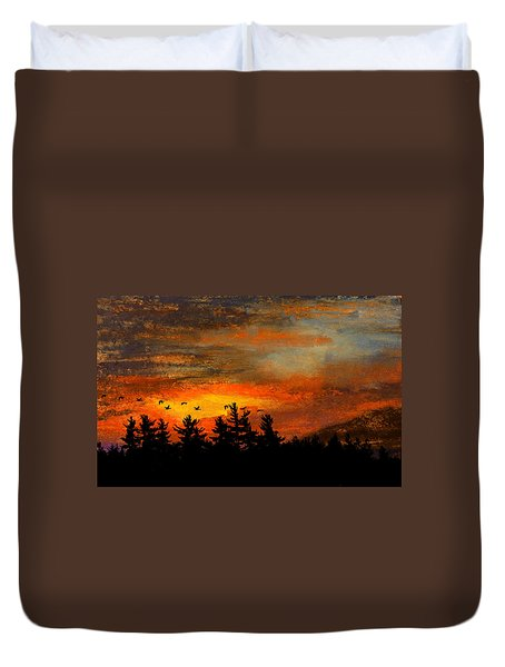 Late Autumn Travelers Duvet Cover by R Kyllo