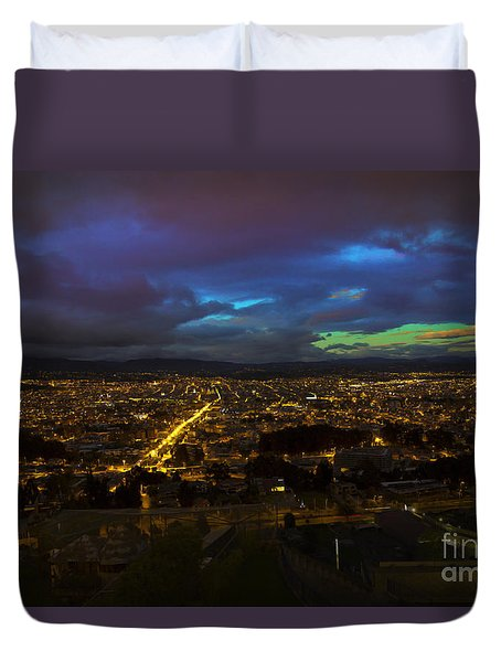 Late Dusk View Of Cuenca From Turi Duvet Cover by Al Bourassa