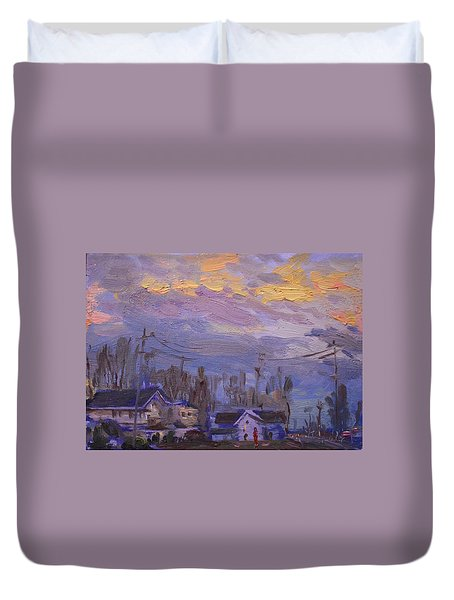 Late Evening In Town Duvet Cover