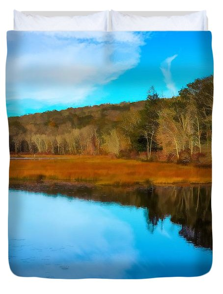Late Fall At A Connecticut Marsh. Duvet Cover