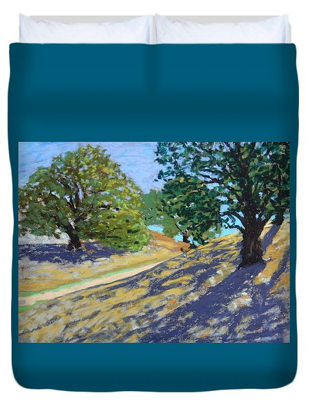 Duvet Cover featuring the painting Late Light's Shadows by Gary Coleman