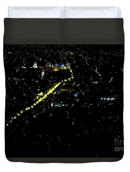 Duvet Cover featuring the photograph Late Night In Cuenca, Ecuador by Al Bourassa