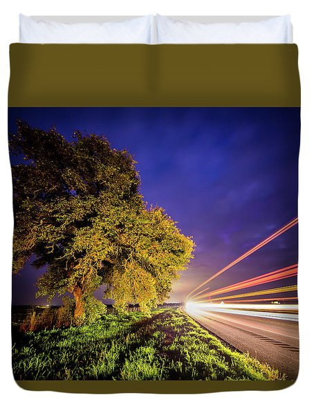 Late Night Texas Country Road Traffic Light Trails Duvet Cover