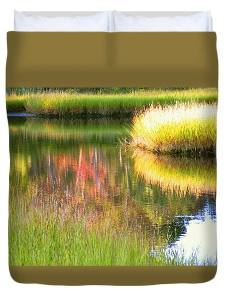 Stillness Of Late Summer Marsh  Duvet Cover