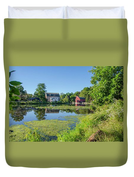 Late Summer - The Red Mill  On The Raritan River - Clinton New J Duvet Cover by Bill Cannon