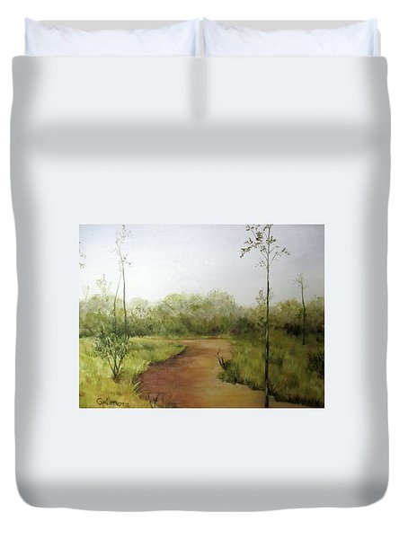 Duvet Cover featuring the painting Late Summer Walk by Roseann Gilmore