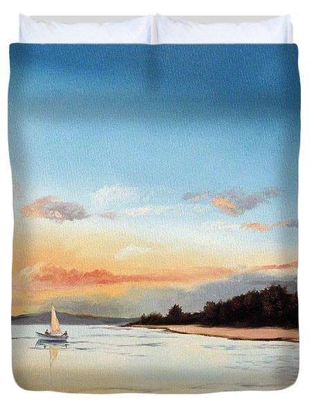 Late Sunset Along The Beach Duvet Cover