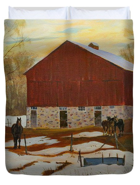 Late Winter At The Farm Duvet Cover