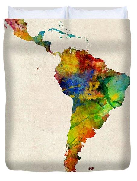 Latin America Watercolor Map Duvet Cover
