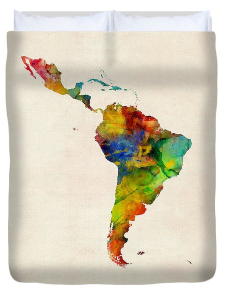 Duvet Cover featuring the digital art Latin America Watercolor Map by Michael Tompsett