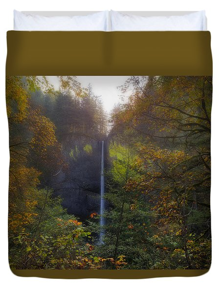 Latourell Falls In Autumn Duvet Cover by David Gn