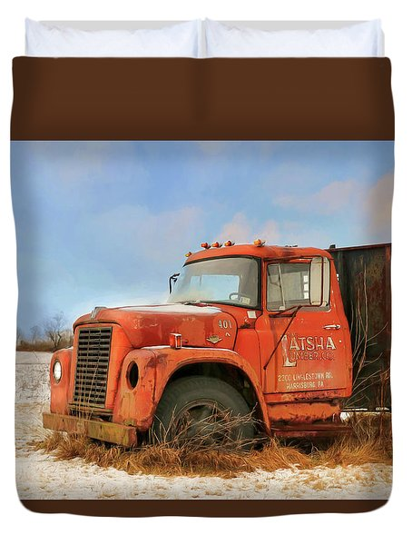 Duvet Cover featuring the photograph Latsha Lumber Truck by Lori Deiter