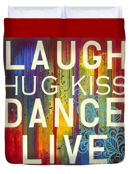 Duvet Cover featuring the painting Laugh Hug Kiss Dance Live by Carla Bank