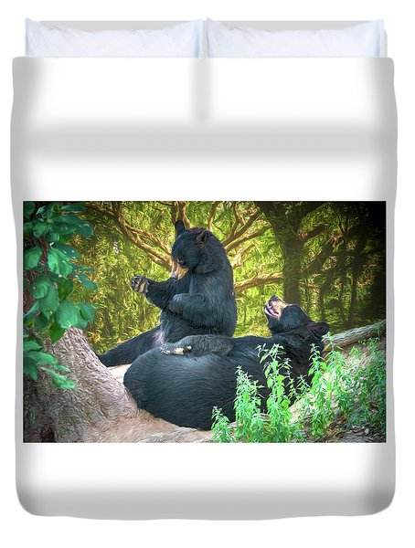 Duvet Cover featuring the painting Laughing Bears by John Haldane
