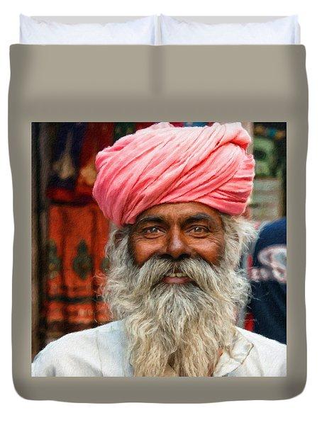 Laughing Indian Man In Turban Duvet Cover