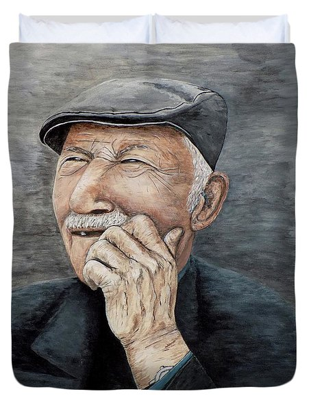 Duvet Cover featuring the painting Laughing Old Man by Judy Kirouac